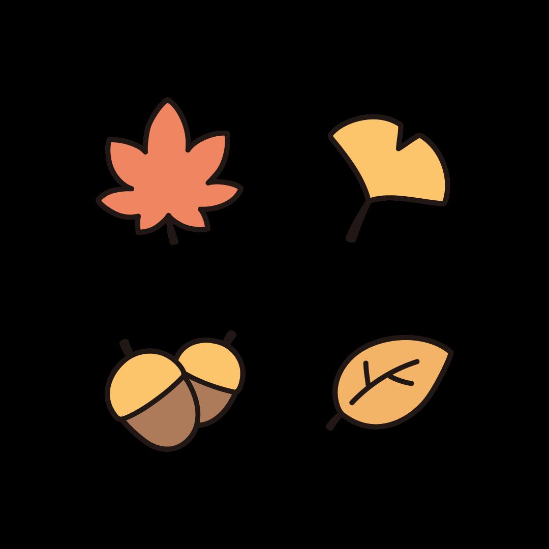 紅葉、銀杏、どんぐり、秋の葉のイラスト