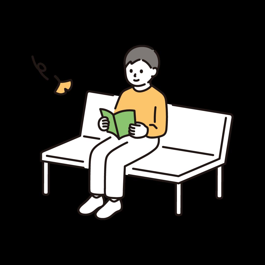 読書の秋(男性)のイラスト
