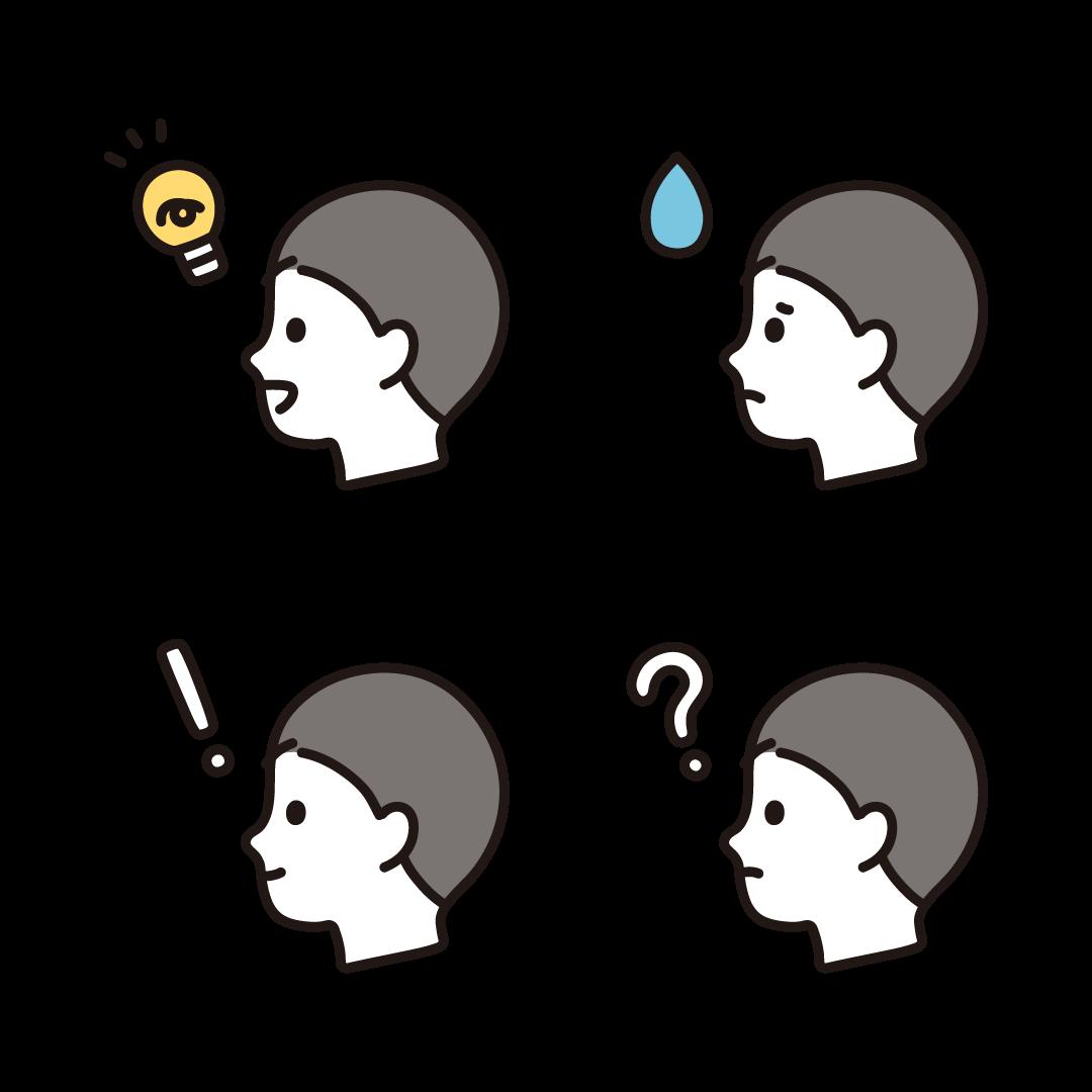 いろいろな表情の横顔(男性)のイラスト