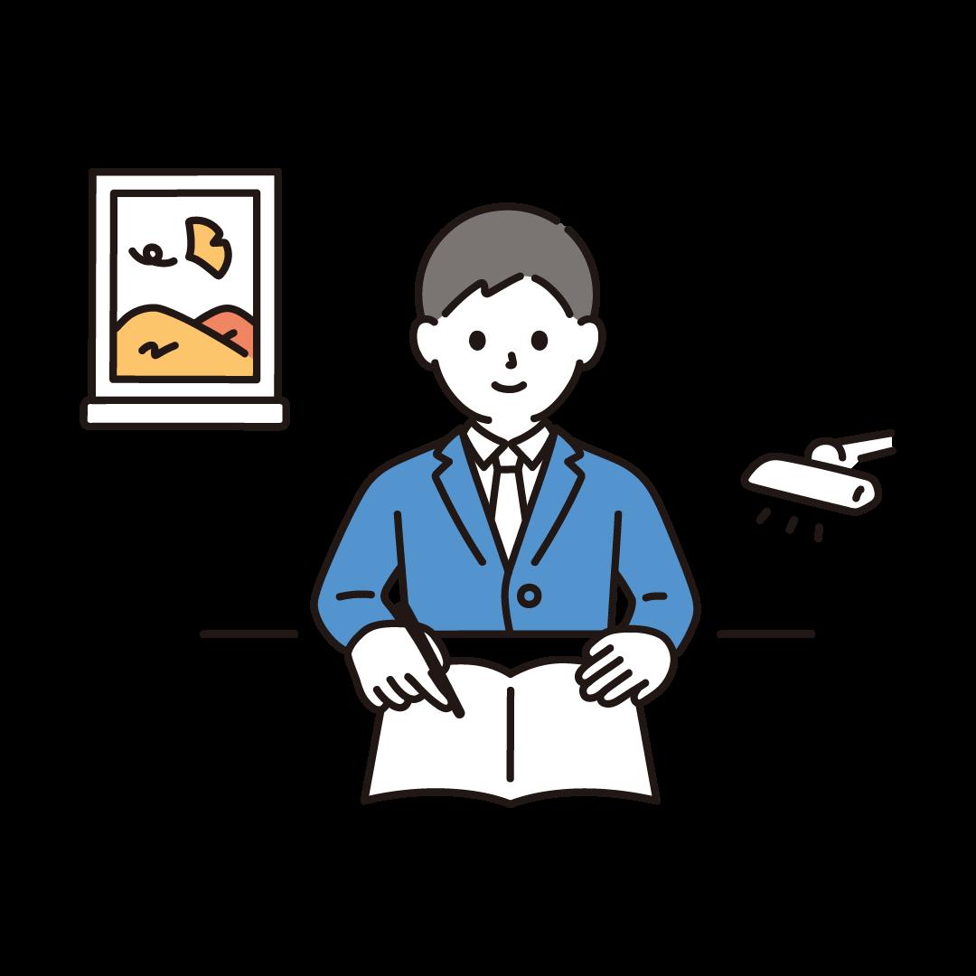 勉強の秋(男子学生)のイラスト
