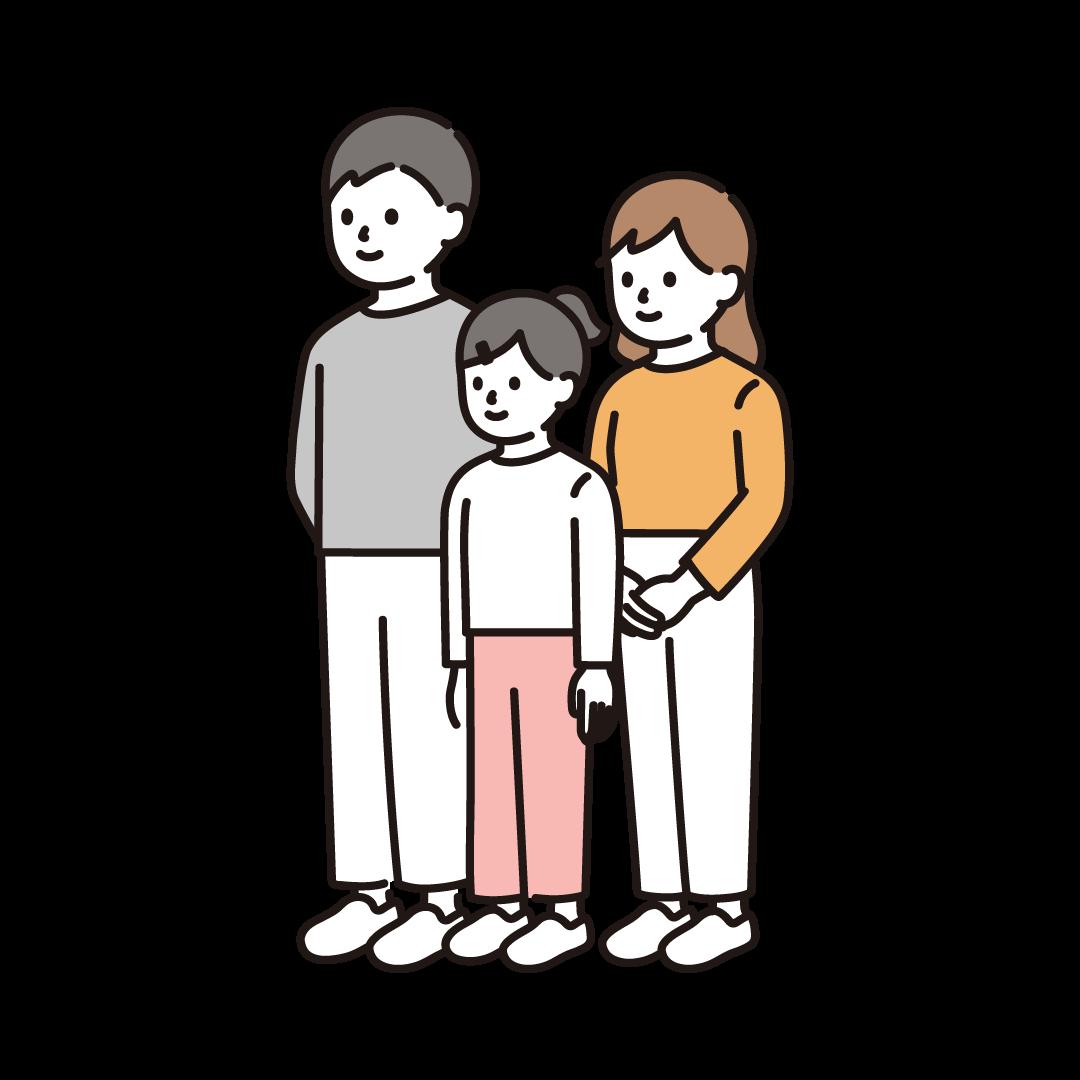 斜めを向いた家族のイラスト