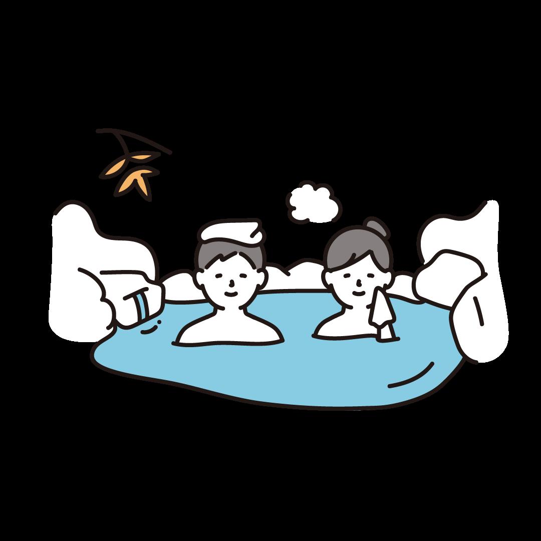 温泉に入る人のイラスト