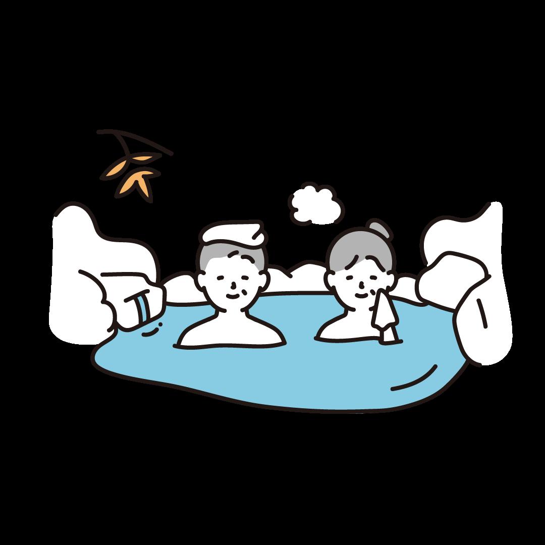 温泉に入る人(シニア)のイラスト