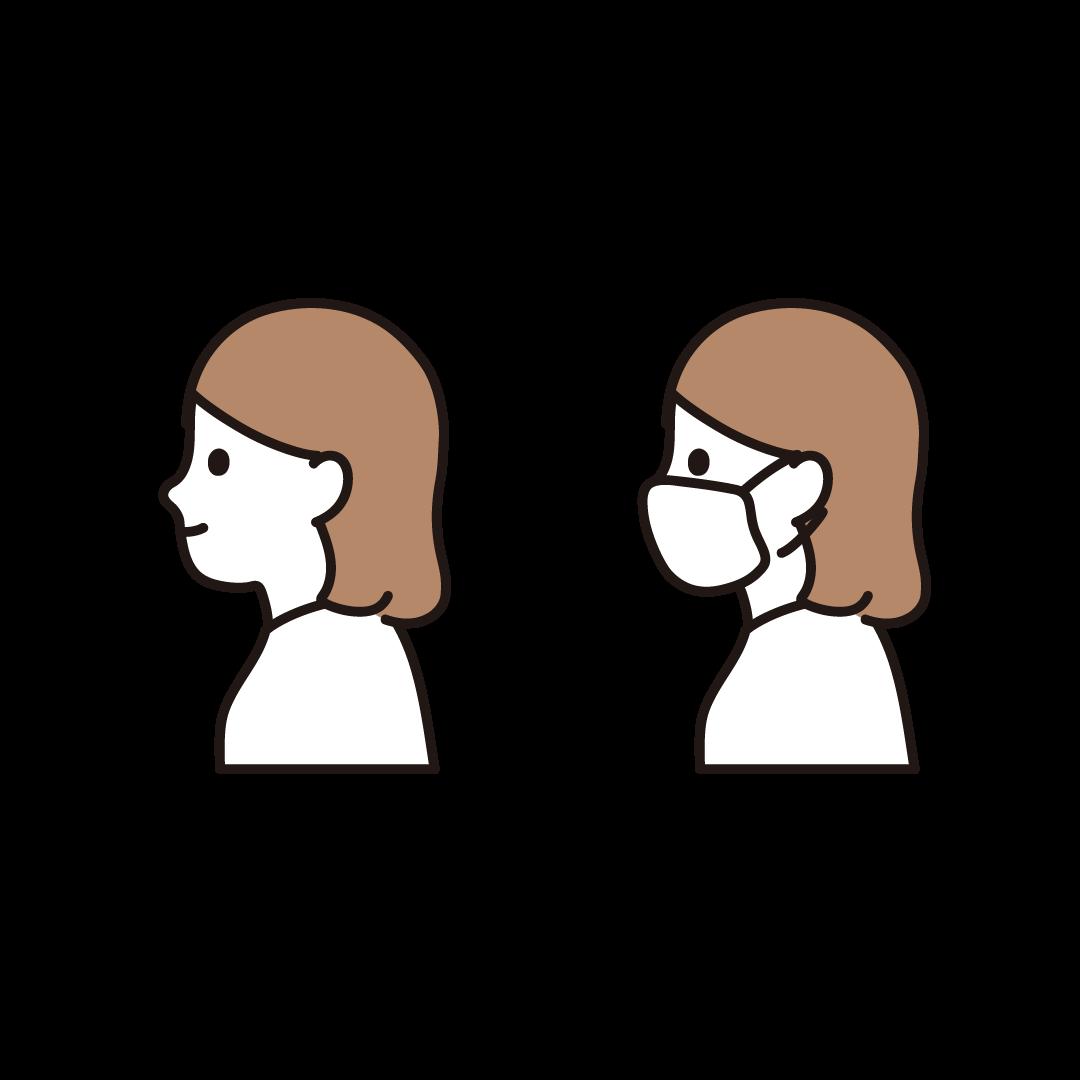 横向きの女性(マスクあり・なし)のイラスト