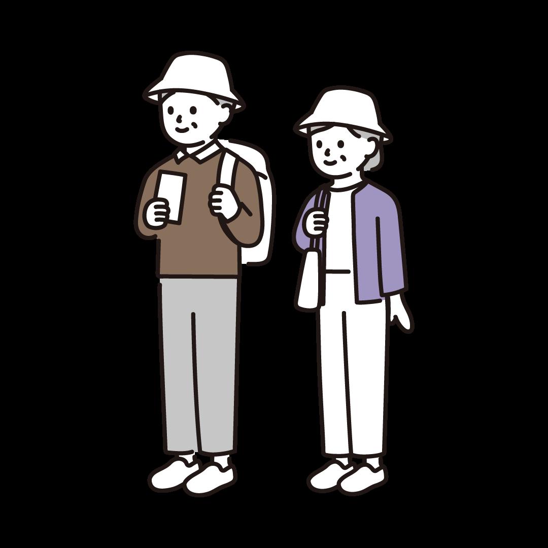 旅行・観光をする人(シニア)のイラスト