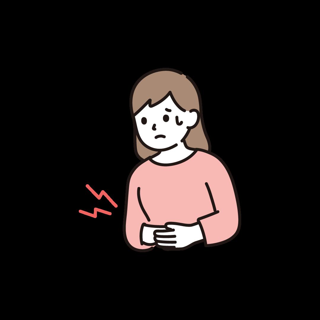 腹痛(女性)のイラスト