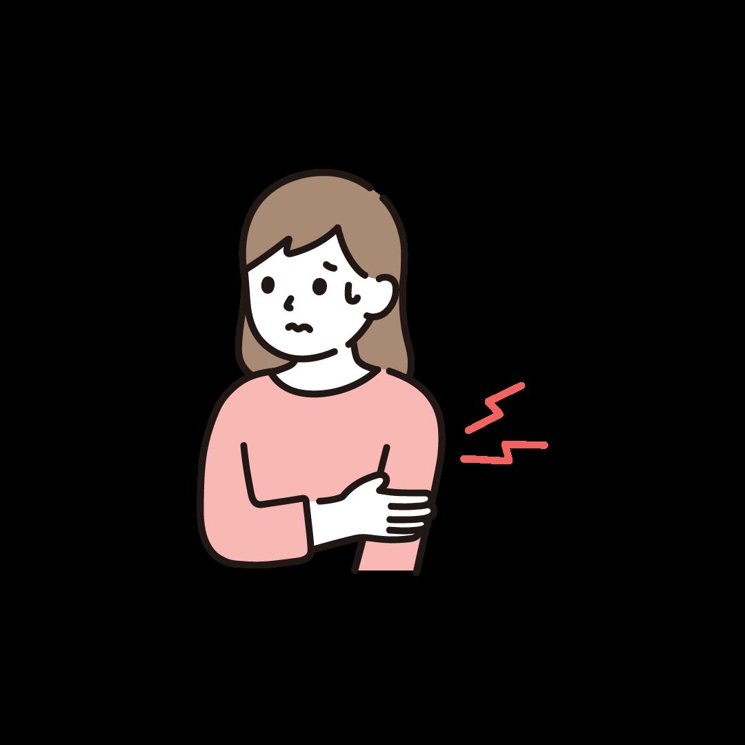 腕が痛い女性のイラスト