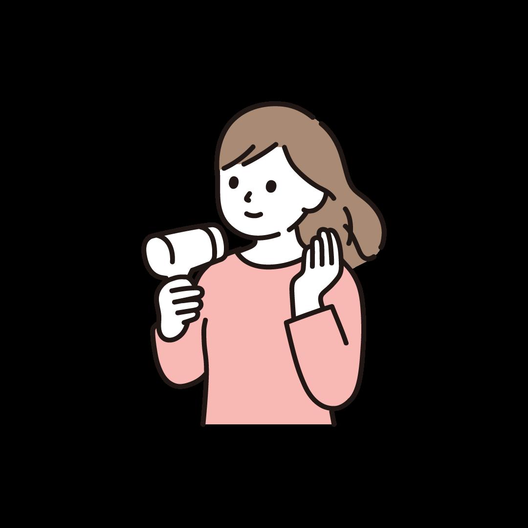 ドライヤーをする女性のイラスト