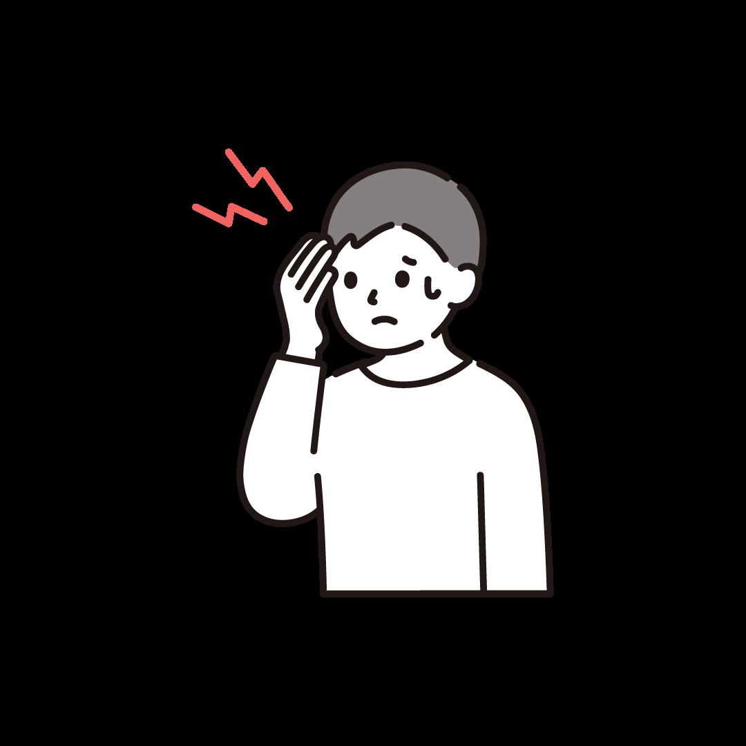 頭痛の男性のイラスト