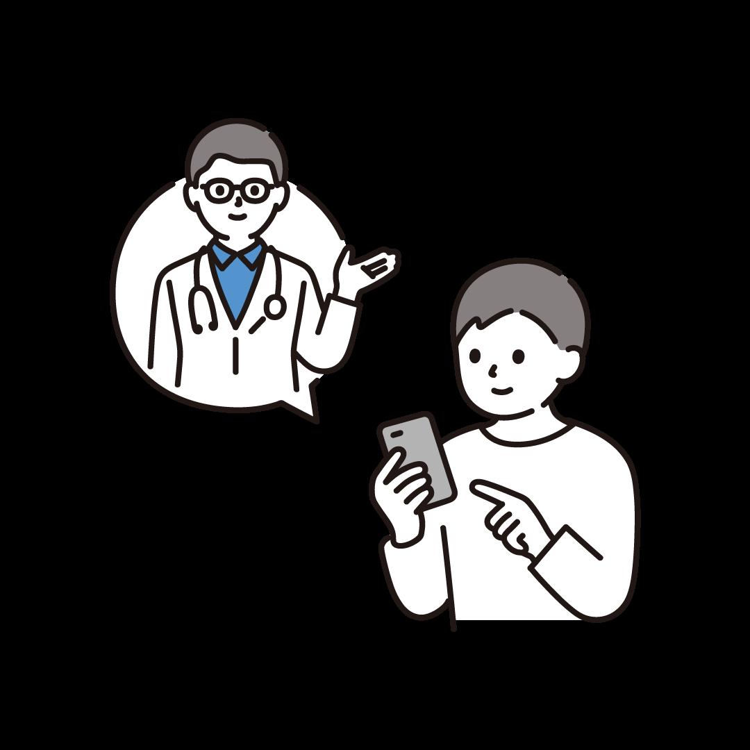 オンライン診療(男性)のイラスト