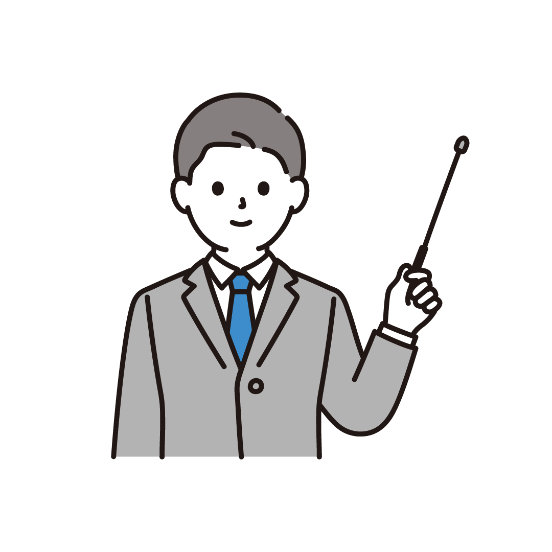 説明をするビジネスパーソン(左手)のイラスト