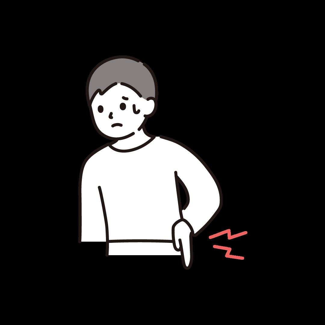 腰が痛い男性のイラスト