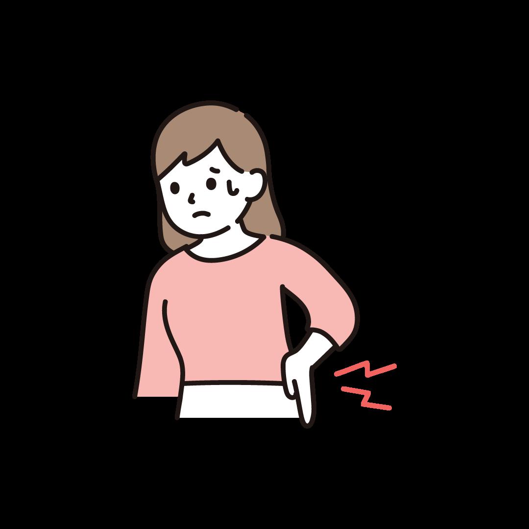 腰が痛い女性のイラスト