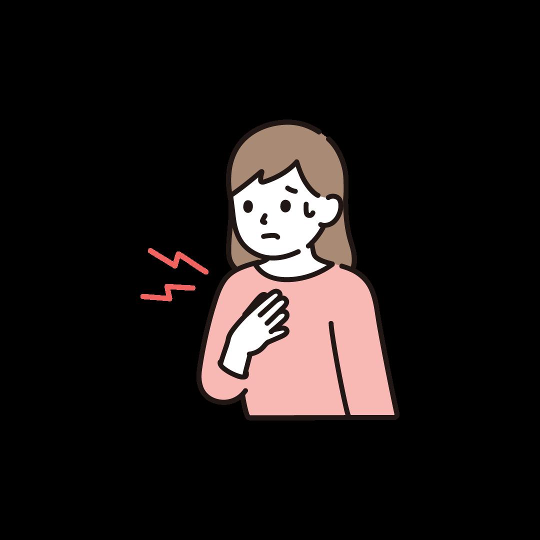 胸が痛い女性のイラスト