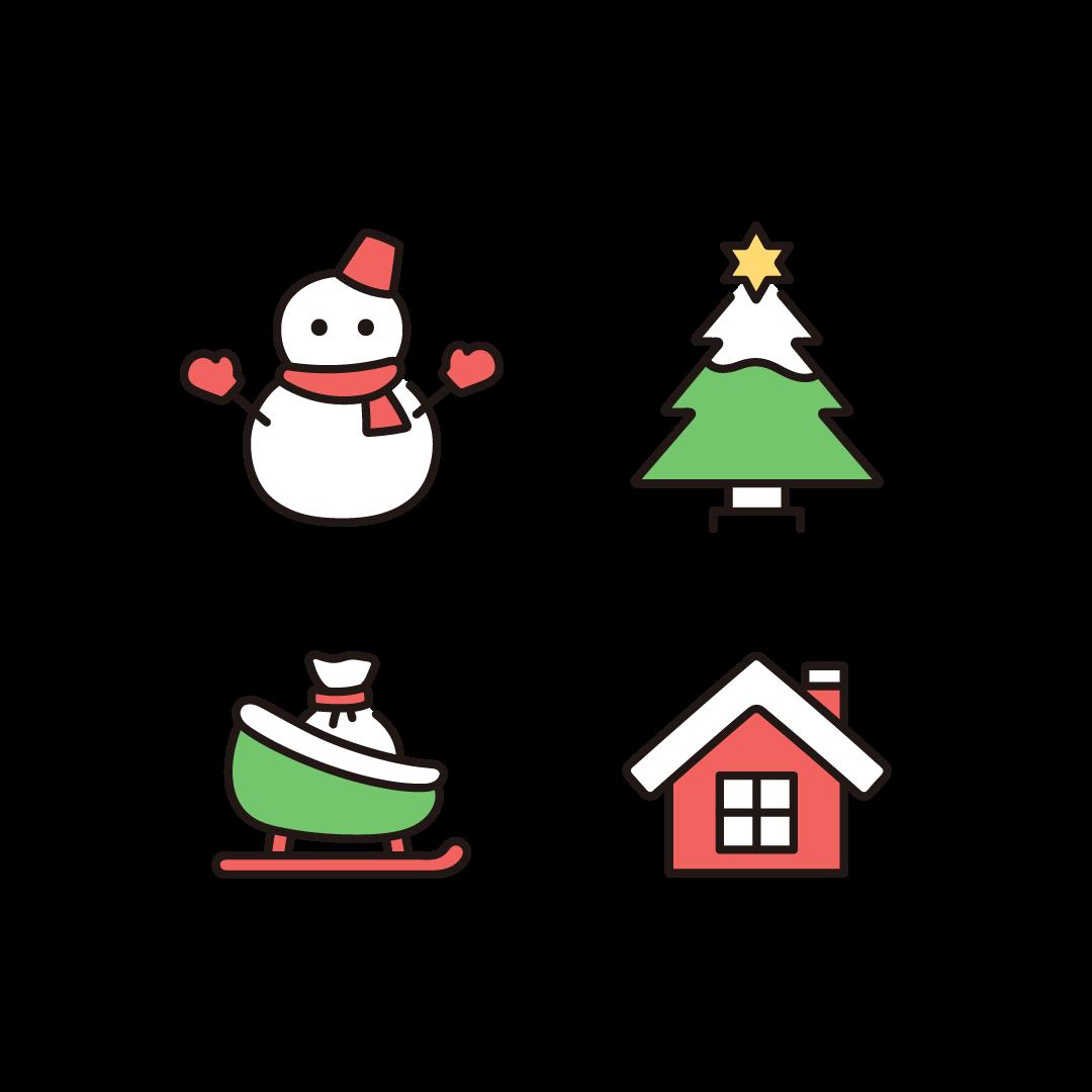 雪だるま、クリスマスツリー、ソリ、家のイラスト