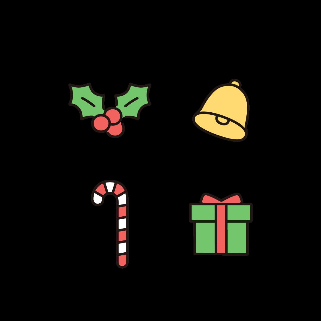 柊(ヒイラギ)、クリスマスベル・鈴、クリスマス キャンディスティック、プレゼントのイラスト