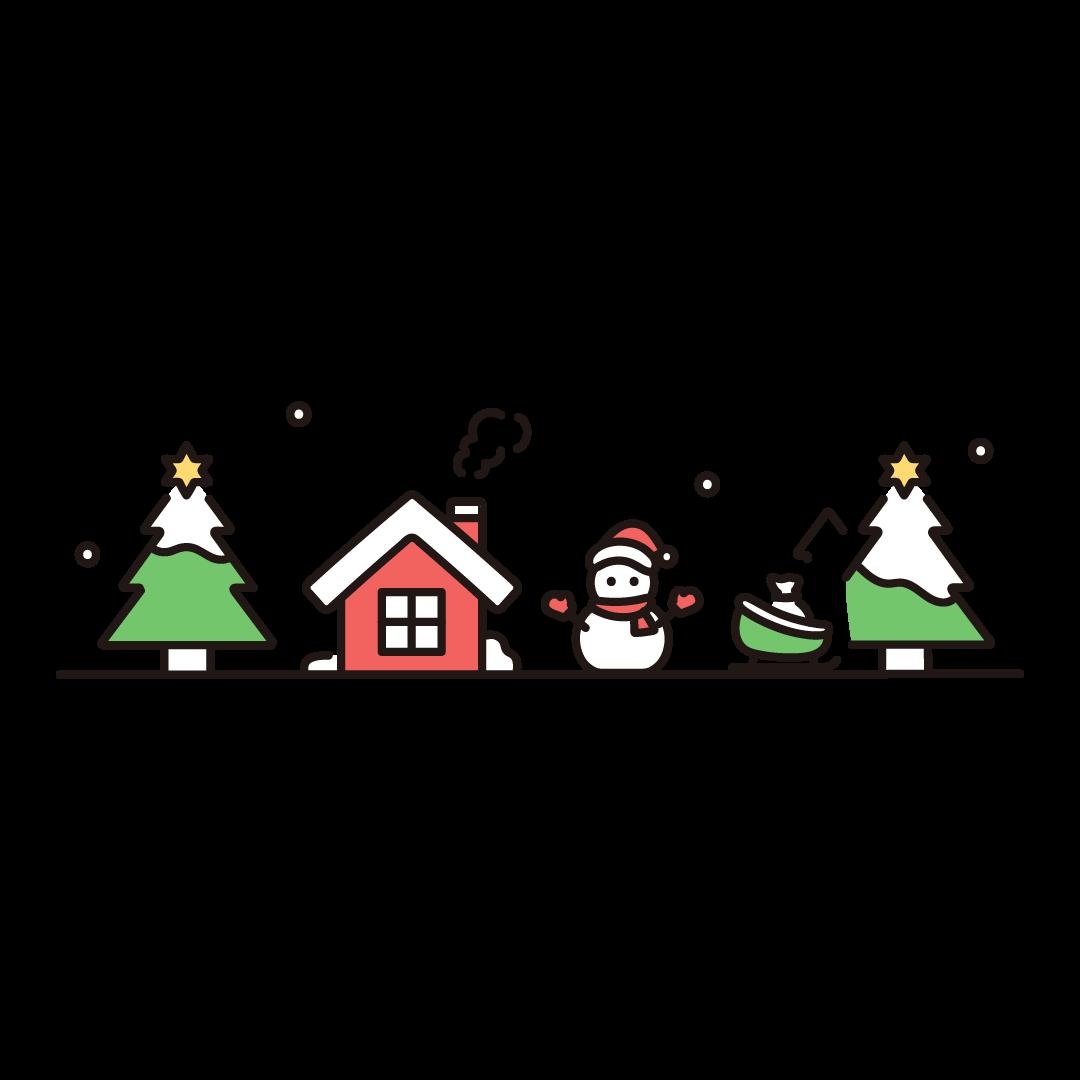 クリスマスの街並みのイラスト