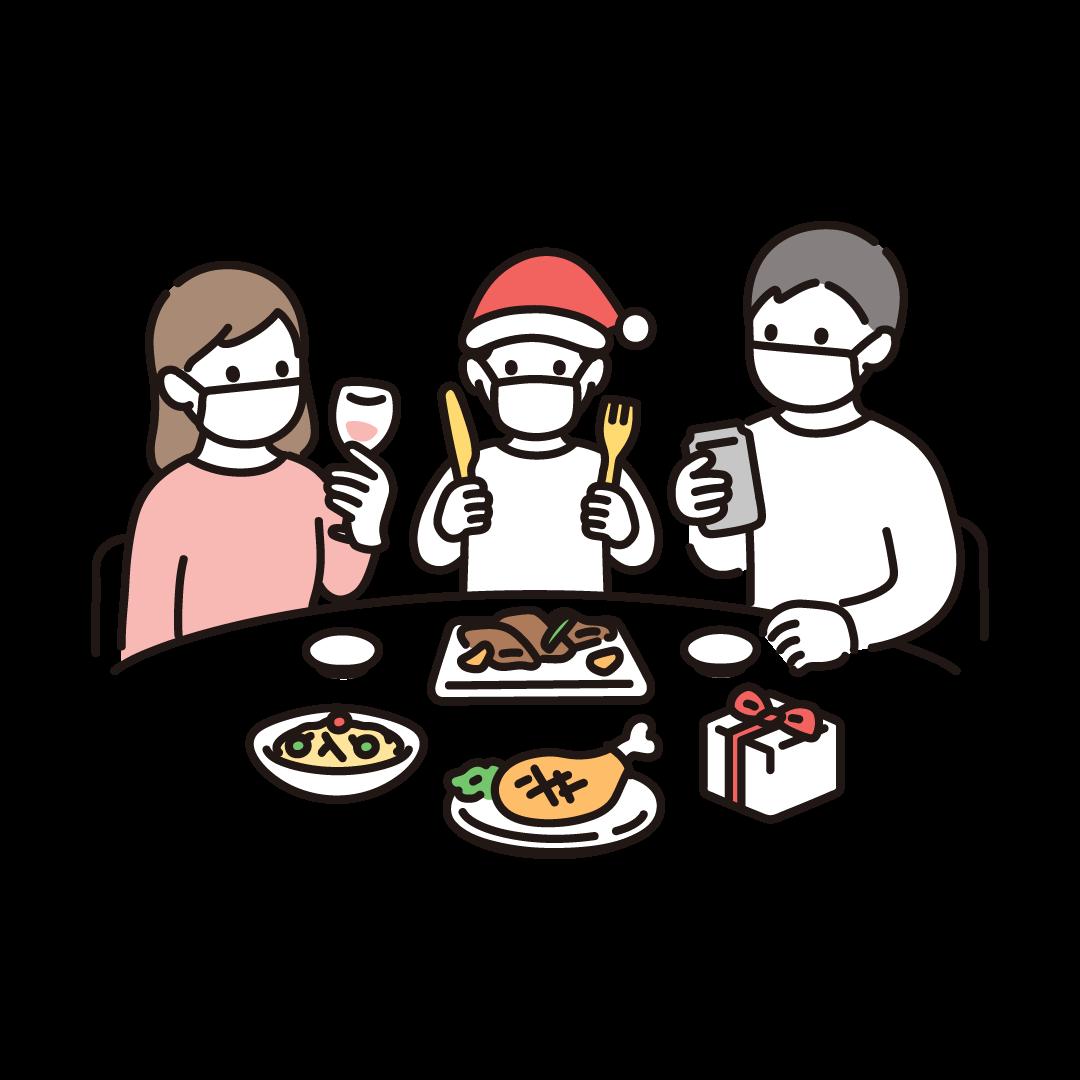 クリスマスパーティー(マスク)のイラスト