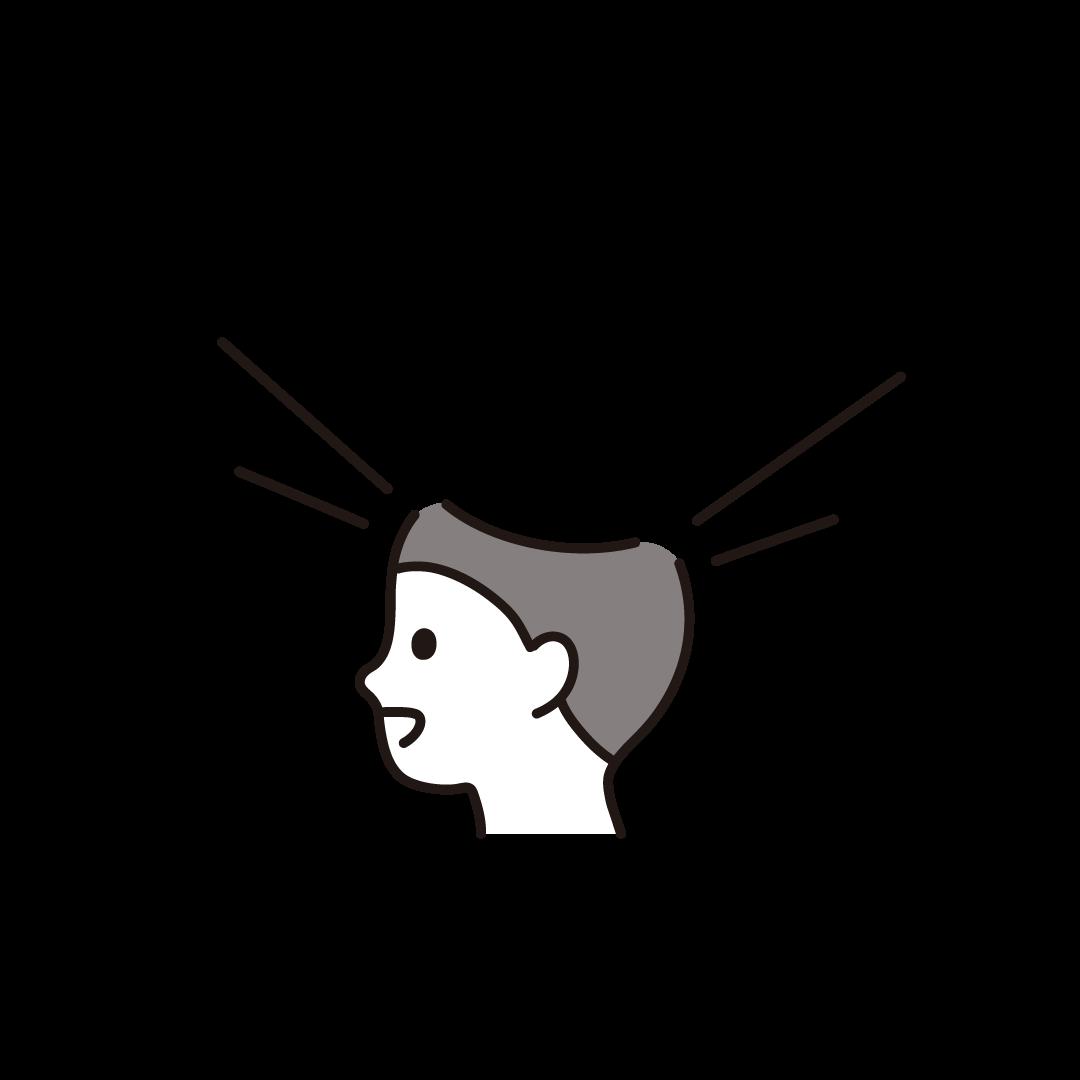 開いた頭の中(男性)のイラスト