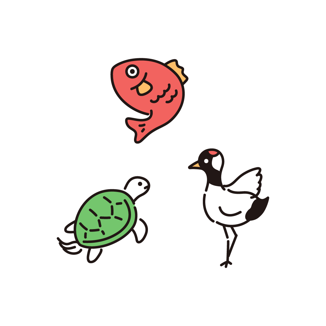 お正月(鯉・亀・鶴)のイラスト