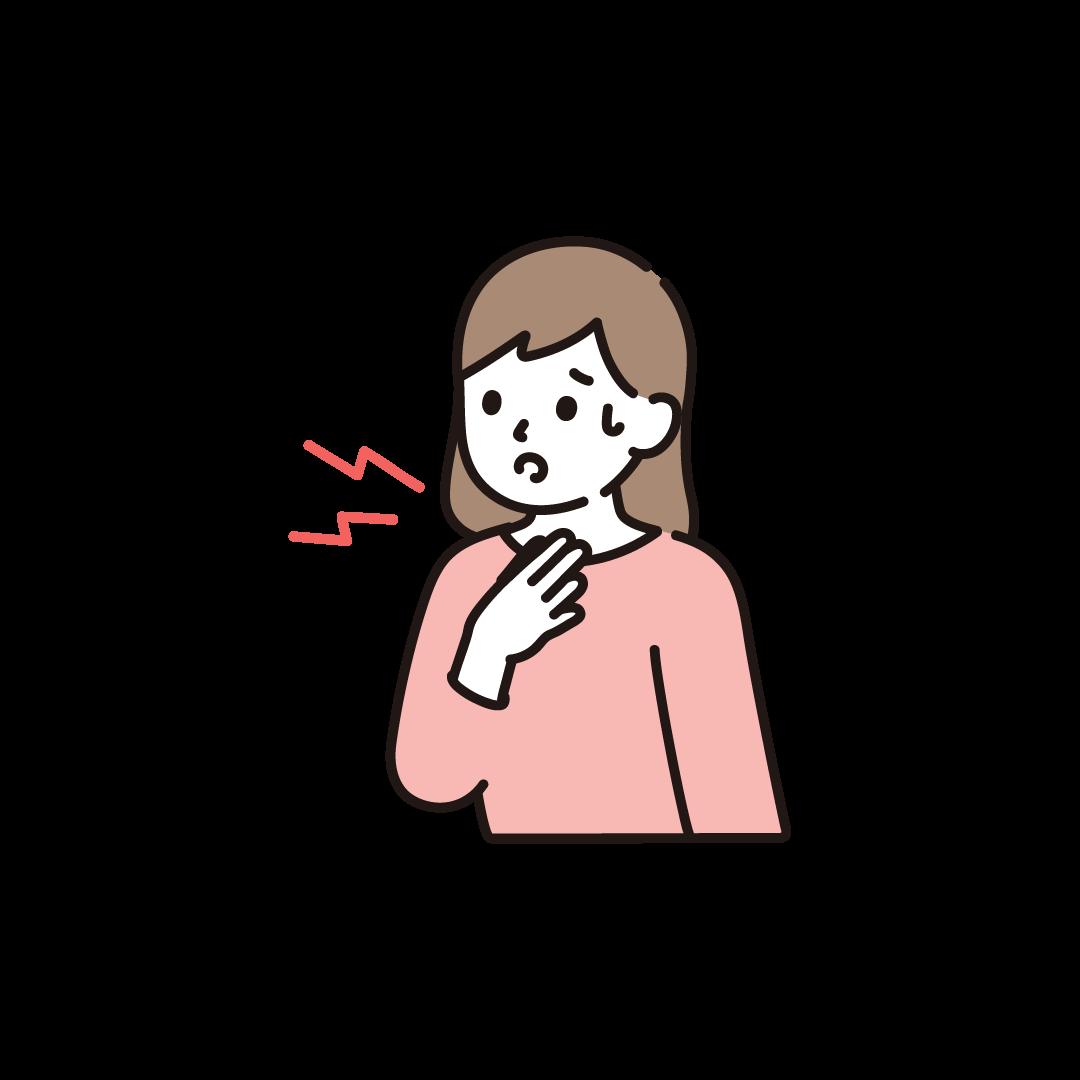 のどが痛い女性のイラスト