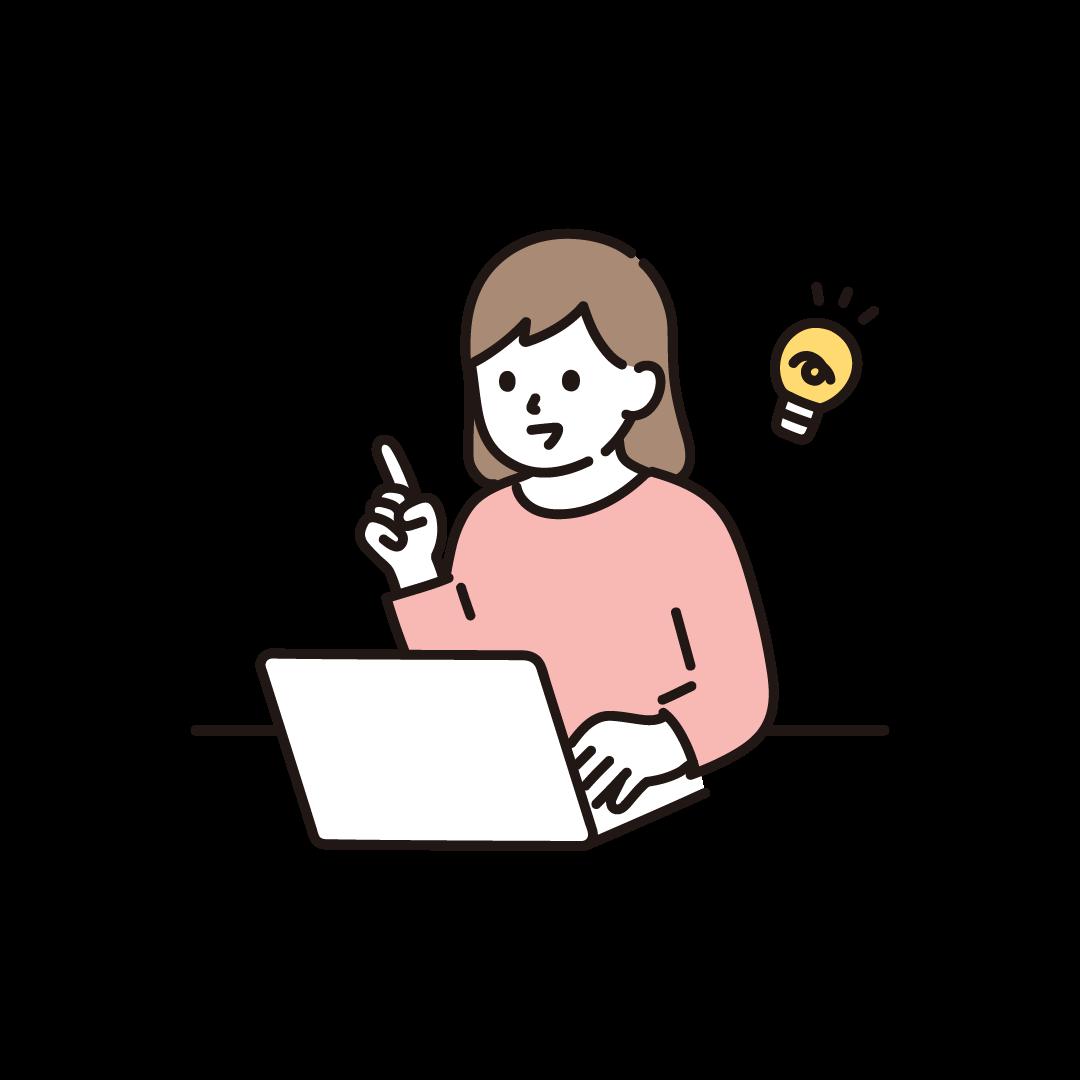 パソコンをする女性(ひらめき)のイラスト