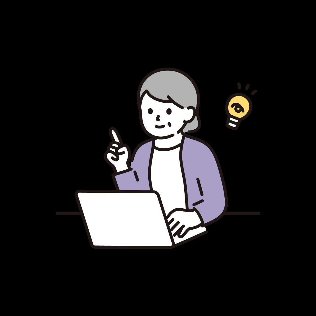 パソコンをするシニア女性(ひらめき)のイラスト