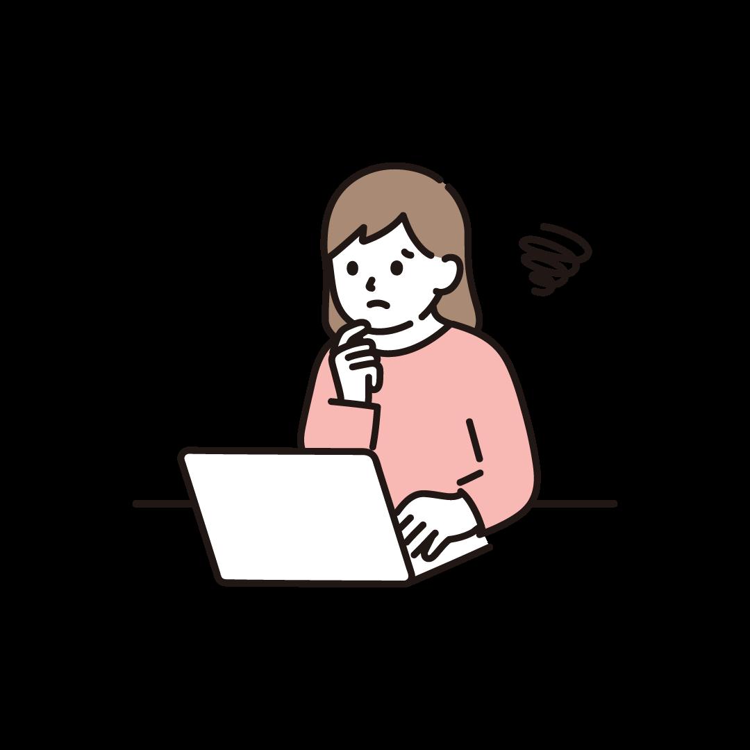 パソコンをする女性(ネガティブ)のイラスト