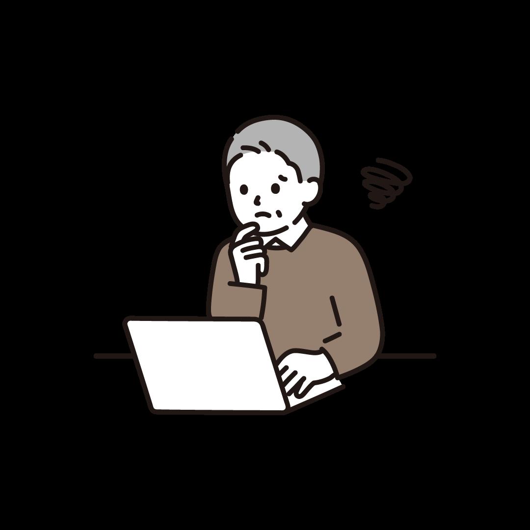 パソコンをするシニア男性(ネガティブ)のイラスト