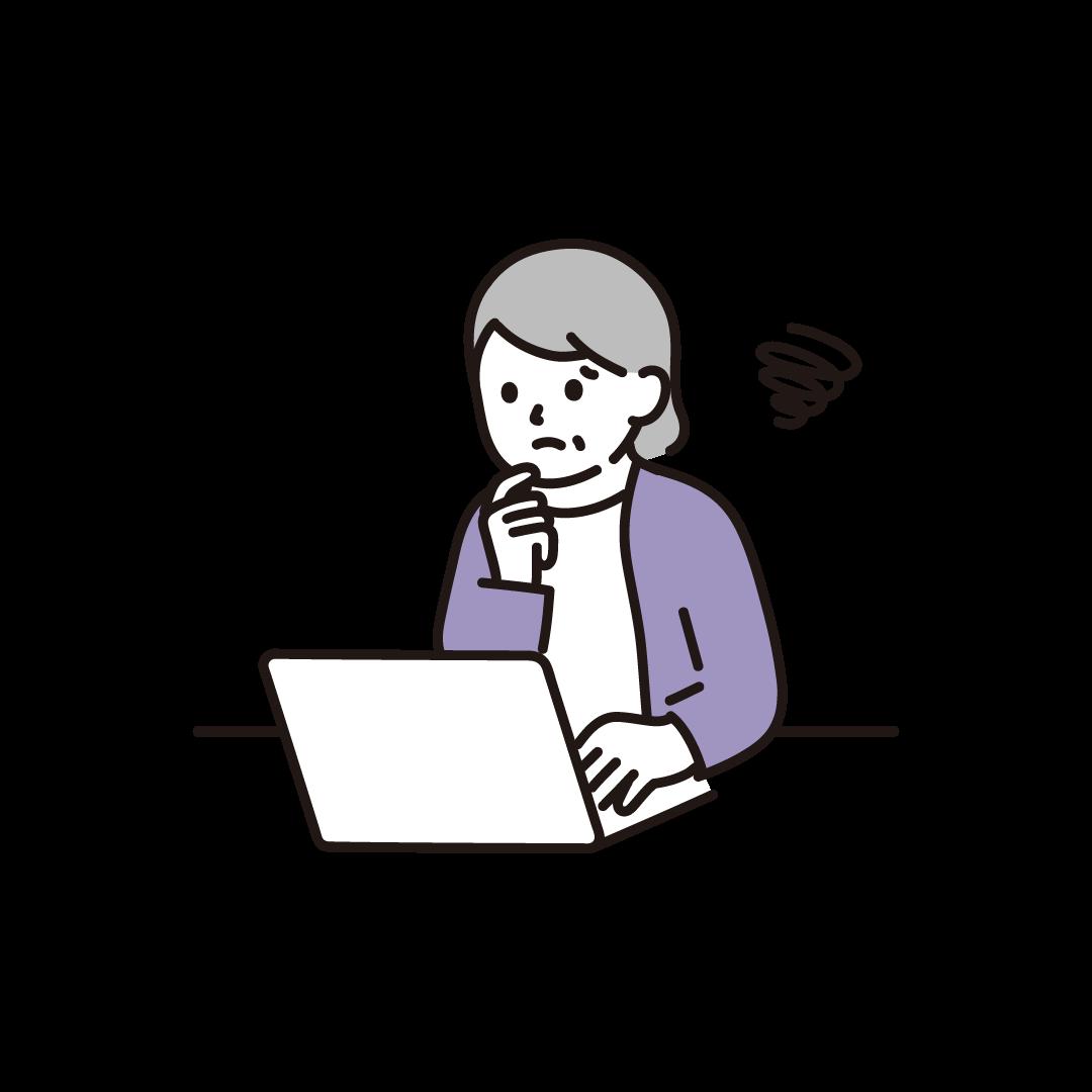 パソコンをするシニア女性(ネガティブ)のイラスト